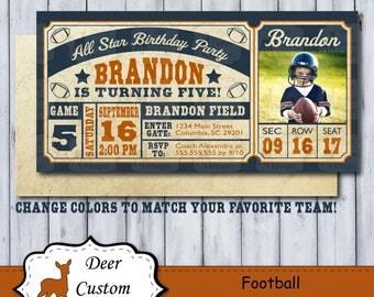 Football Birthday Ticket | Football Invitation | Football Birthday Invitation | Vintage Football Ticket Invite | All Star Birthday | Photo