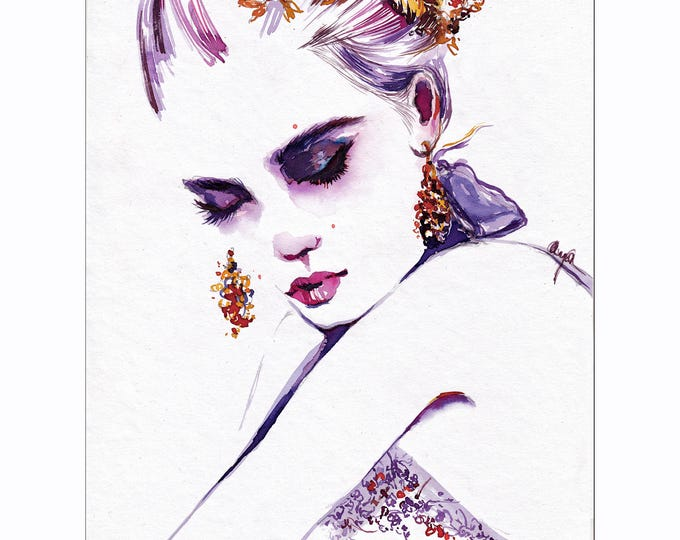 Fleur - Fashion illustration, Beauty portrait, Fashion sketch, Watercolor beauty illustration