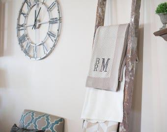 Monogrammed Throw | Adult Blanket | Monogrammed Blanket | Soft Cotton Throw | Herringbone Blanket | Stag Blanket | Christmas Gift