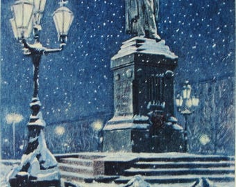 Happy New Year! Illustrator N. Kruglov - Vintage Soviet Postcard, 1958. Monument to Alexander Pushkin Evening Moscow Winter Christmas Print