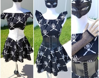 Darth Vader Womens dress Chose Black or White waist cincher belt with a mask and gloves