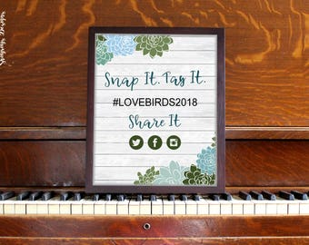 Wedding Hashtag Template // Snap It Tag It Share It Succulent Wedding Printable // Instagram Sign Botanical Floral Decor // Social Media Tag