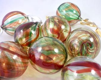 Holiday Glass Ornaments- red, green, and white stripes swirling around, light, transparent, sparkling, great unique holiday gift idea