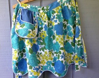 Vintage Apron, Half Apron, Blue Flower Apron, Vintage Blue Flowered Apron, Flowered Half Apron
