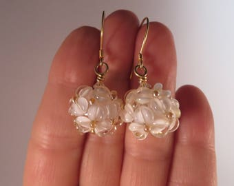 Handmade lampwork glass bead earrings,Floral earrings, Vermeil 24K. gold-filled,Gold White and Clear floral earrings
