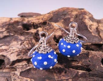 SRA handmade lampwork earrings,Polka Dots,Lapis Blue,Sterling Silver Earrings