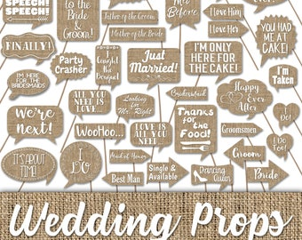 Wedding Photo Booth Prop Signs and Decorations - Burlap Style Wedding Printables - Over 50 Images - Printable Wedding Photobooth Props