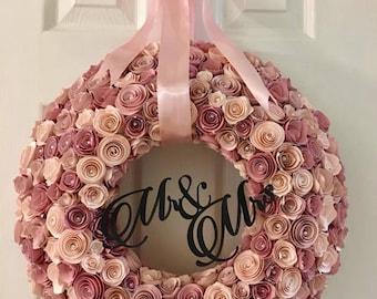 Paper Flowers , Paper Flower Wreath, Wedding Wreath, bridal, baby shower, baby nursery, home decor
