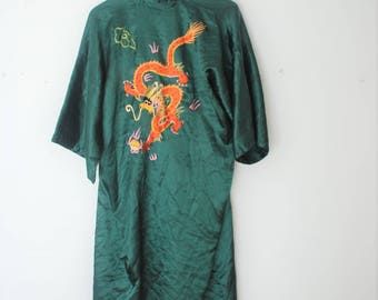 VTG Long Satin Embroidered Robe, Vintage Emerald Dragon Embroidery