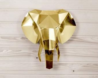 Elephant Paper KIT | Gold Elephant sculpture | Mirror wall | Golden wall art | 3D Papercraft | Elephant nursery | Baby shower | Gold decor