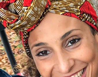 Red Wax Print head wrap | African print Head wrap | Ankara headscarf | African wax print Headband | Ladies Scarf | Print 25