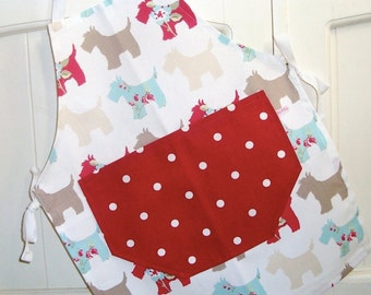 Child's Apron, Child's Red Scottie Apron, Red Dotty Apron, Apron, Full Child's Apron, Baking, Children's Gift, Mother and Daughter, Dogs