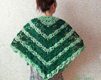 Crochet triangular shawl, crochet wrap, boho clothing, knitted wool shawl, woodland green shawl, hygge shawl, openwork handknit shawl