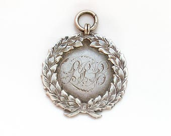Choice Large Heavy English Antique Handmade Sterling Silver Albert Watch Fob Medal Pendant - 1905 Edwardian - 18 + Grams - Free Shipping USA
