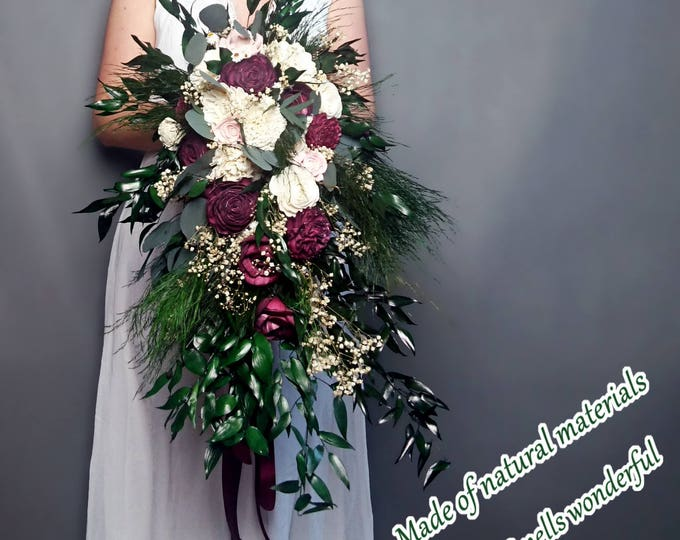 Retro boho long cascading wedding bouquet burgundy ivory preserved greenery sola flowers ruscus eucalyptus gypsophila vintage style bridal