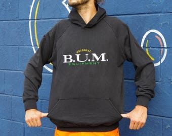 90's ORIGINAL B.U.M. EQUPMENT black hoodie sweatshirt