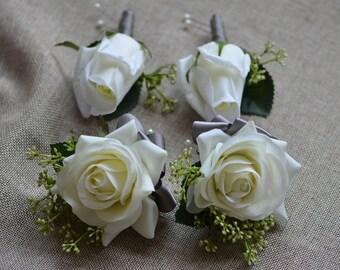 White Garden Rose Boutonniere handmade boutonniere | etsy