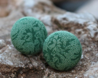 19 mm Green Floral Pattern Fabric Covered Button Earrings