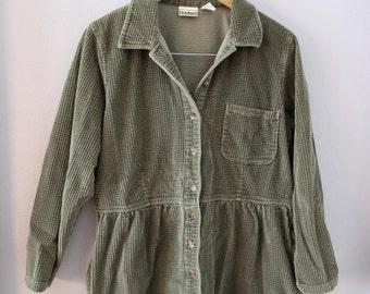 90s L.L. Bean Corduroy Sage Green Olive Babydoll Dress Medium Large