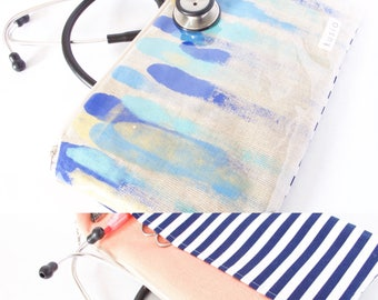 Stethoscope Bag. HAND-PAINTED Linen+Stripes. Nurse Gift. One of a Kind Medical Gift. Doctor Gift.Nurse Grad.Physician Assistant. RN Bag Gift