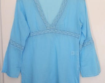 Vintage 1990's Marks and Spencer Turquoise Lightweight Cotton and Lace V-Neck Long SleeveTop UK Size 10/12 / US Size 6/8