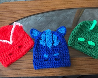 Hand made crochet PJ MASKS inspired hat/ mask/catboy/owlette/gekko/3 to 6 years