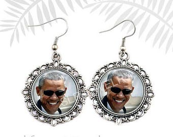 Barack Obama Earrings,President Barack Obama Jewelry, Obama Earrings, Democrat, Political, Hillary Clinton, 2016 Election, Obama Gift