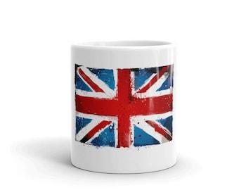 Distressed England Flag Mug. Grunge Union Jack ceramic Cup for British, English, UK, United Kingdom, Great Britain & London.