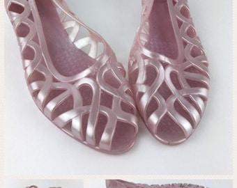Womens Vintage Jelly Jellies Shoes Sandals Flats 1980's Light Purple Size 10