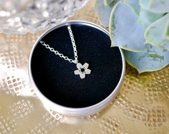 Sterling Silver Cherry Blossom Necklace / chain / gifts for her / bridesmaid gift / stocking filler / 925 / hypoallergenic