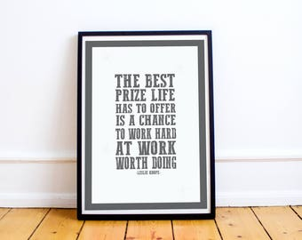 """Leslie Knope Quote Print - Quote Print - Parks & Recreation Typography Art Poster Print - """"work hard work worth doing"""" - Leslie Knope"""