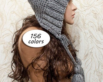 Gray Knit Hat - Aviator Adult Bonnet - Hood with Ties - Crochet Hood Tassel Hat - Knit Accessories Gift For Her - 156 Color Choices