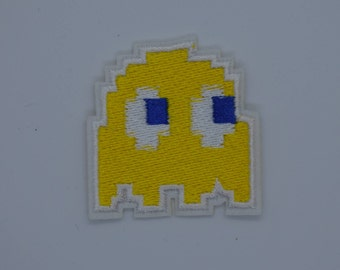 Yellow Pac Man Ghost Iron on Patch