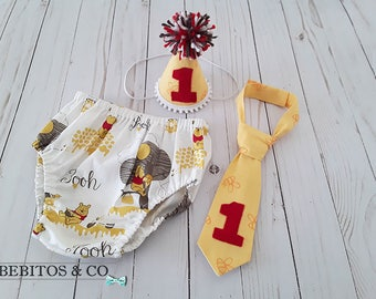 Winnie The Pooh 1st Birthday, Winnie The Pooh Cake Smash Outfit, Pooh Diaper Cover Hat and Necktie Set, Pooh Photo Prop, Pooh Birthday Set