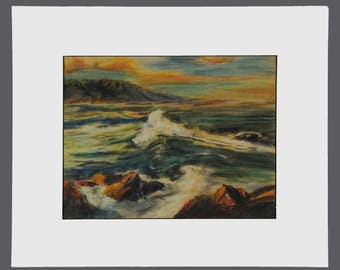 Vintage Martin Pastel Drawing Signed Art Seashore Sea Ocean Beach Horizon Yellow Orange Green Blue