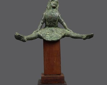 Mid Century Bronze Sculpture MCM MOD Decor Sitting Girl Acrobat Gymnastic Gymnast