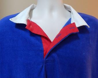 80s velour Big Tall 2XL polo shirt, collared, long sleeve, drop sleeve, oversized shirt, Towncraft