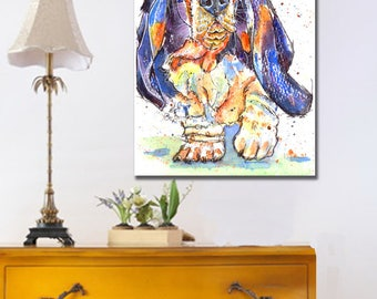 Basset Hound Dog POSTER Print of Original Watercolour Watercolor Painting by Josie P.