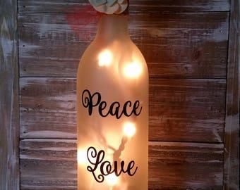 Lighted Wine Bottle/Peace Love Wine Gift/Kitchen/Birthday/Decoration/Decor/Lamp/hostess/Birthday/Wine Lover