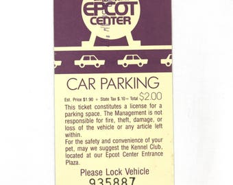 EPCOT Center Car Parking Ticket from Walt Disney World in 1988