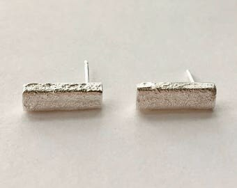 Recycled Sand Cast Bar Stud Earrings