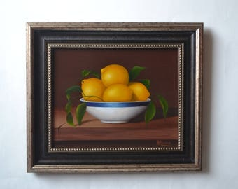 Acrylic 8x10' lemon painting, small still life painting, artwork, kitchen painting, food painting, lemons, tiny fruit painting, bowl, plate