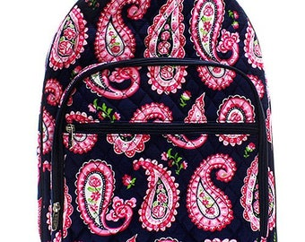 Paisley Print Large Quilted Backpack Great for Back to School or Diaper Bag NavyBlue
