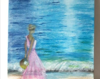 Seaside landscape, Waterfront painting, Wall art, Home decor