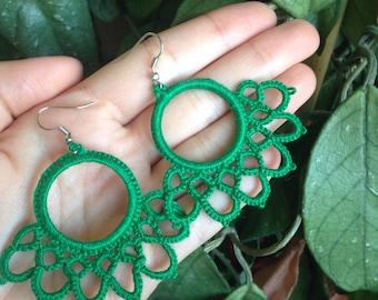 Boho Circle Earrings Handmade//tatting//gifts for her//customizable