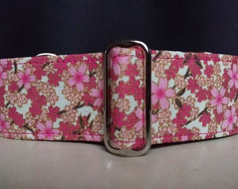 """Martingale Collar - Whippet, Greyhound, Italian Greyhound - 1"""", 1.5"""" and 2"""" width - Cherry Blossoms"""