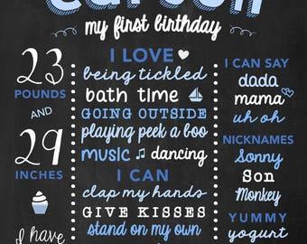 First Birthday Chalk Board Boy Sats, ChalkBoard Birthday Poster for Boys, Birthday Party Decor Board for 1st Birthday, Stats Board for Baby