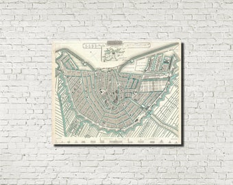 Amsterdam Street Map Old Amsterdam City Atlas Vintage 1835 Century Map Netherlands Bar Den Wall Art Print