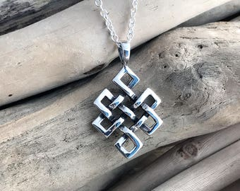 Sterling Silver Celtic Irish Infinity Knot Pendant Necklace Sterling Silver Celtic Knot, Knot Necklace, Celtic Knot Irish Jewelry CLT045