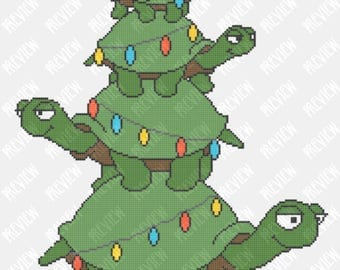 Turtle Christmas Tree -  Counted Cross Stitch PDF Pattern - Instant Download